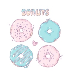 Set of hand drawn donuts isolated in  sweet vector