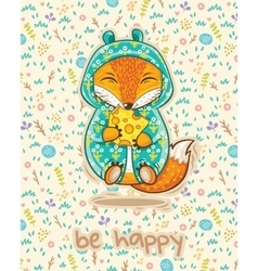 Be happy cute card with fox and slice of cheese vector