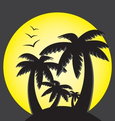 Palms and sunset vector