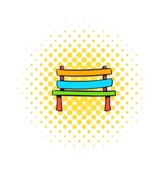 Park bench icon comics style vector image