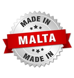 Made in malta silver badge with red ribbon vector