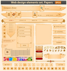 web design elements set paper vector image