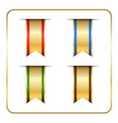 Gold bookmark banners set vector