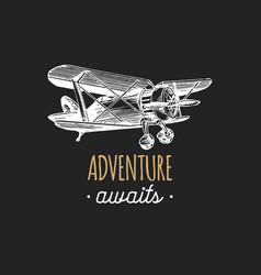 Adventure awaits motivational quote vintage retro vector