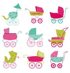 Baby carriage background vector