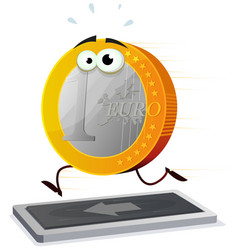 cartoon euro running on a treadmill vector image vector image
