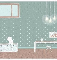 Children room dark with bulbs background design vector