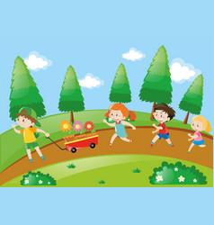 children running in park at daytime vector image