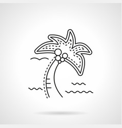Coconut palm flat line icon vector