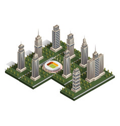 collection of skyscrapers isometric vector image vector image