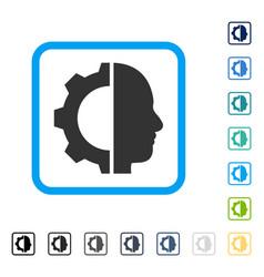 Cyborg gear framed icon vector