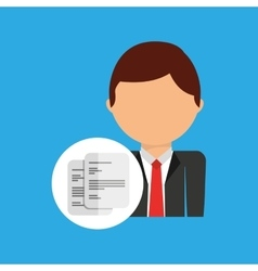 Document business man suit worker icon vector