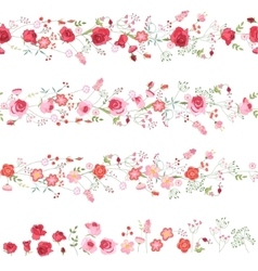 Endless horizontal borders with cute red and pink vector image