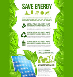 energy and ecology conservation poster vector image vector image