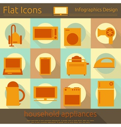 Flat Icons Set - Home Appliances vector image vector image