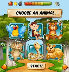 Game template with wild animal characters vector