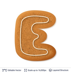 gingerbread letter e isolated on white vector image