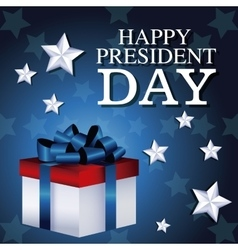 Happy president day gift box present star vector