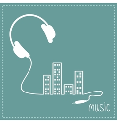 Headphones and cord in shape of equalizer building vector