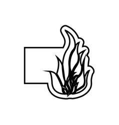Monochrome contour emblem with flame icon vector