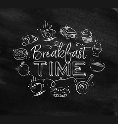 Monogram breakfast time chalk vector