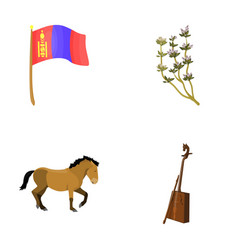 National flag horse musical instrument steppe vector