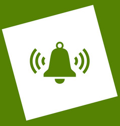 Ringing bell icon white icon obtained as vector