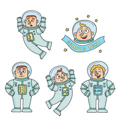 set of cartoon color astronauts isolated on vector image