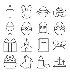 set of cute easter icon thin line vector image vector image