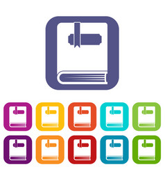 Thick book with bookmark icons set vector