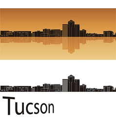 Tucson skyline in orange background vector image vector image