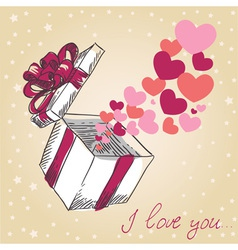 Valentines hearts fly out of the gift box vector image vector image