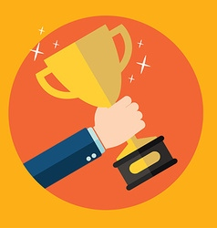 with flat trophy and hand First place and business vector image vector image