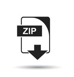 Zip icon flat zip download sign symbol with vector