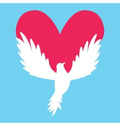 Dove icon with heart shape logo peace love vector