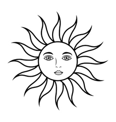 Sun face astrology vector