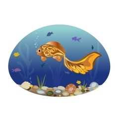 the fishes on the background of a vector image