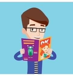 Man reading magazine vector image