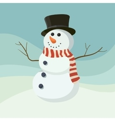 Snowman icon flat helper Snowman icon face vector image