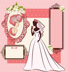 Beautiful bride in dress vector