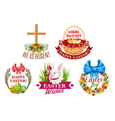 Easter egg rabbit flowers cartoon emblem set vector