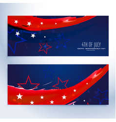 4th of july banners collection vector