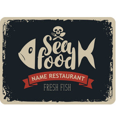 Seafood restaurants with fish and jolly roger vector