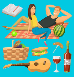 Adult couple on picnic plaid barbecue outdoor vector