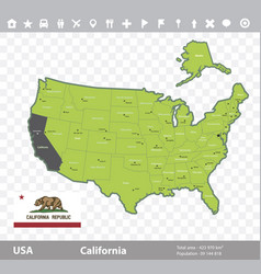 California flag and map vector