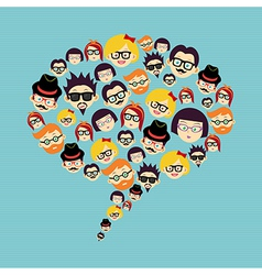 Vintage hipsters faces social bubble vector