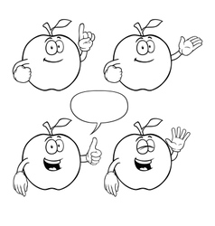 Black and white smiling apple set vector image