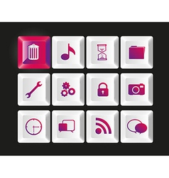 Group of white keys with icons vector