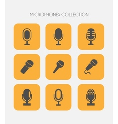 Microphone icons flat style vector