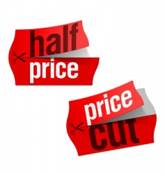 price cut half price sticker vector image
